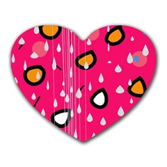 Rainy day - pink Heart Mousepads
