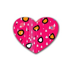 Rainy day - pink Heart Coaster (4 pack)