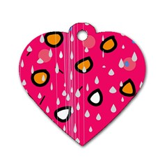 Rainy day - pink Dog Tag Heart (One Side)