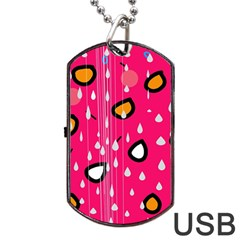 Rainy day - pink Dog Tag USB Flash (Two Sides)