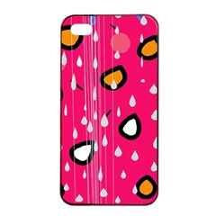 Rainy day - pink Apple iPhone 4/4s Seamless Case (Black)