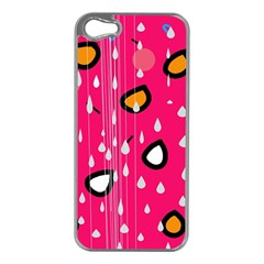 Rainy day - pink Apple iPhone 5 Case (Silver)