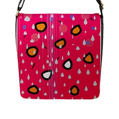 Rainy day - pink Flap Messenger Bag (L)