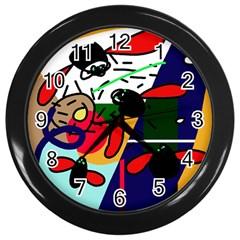 Fly, fly Wall Clocks (Black)