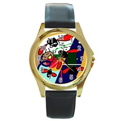 Fly, fly Round Gold Metal Watch