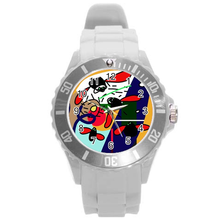 Fly, fly Round Plastic Sport Watch (L)