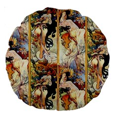 Alfons Mucha 1895 The Four Seasons Large 18  Premium Round Cushions