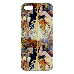 Alfons Mucha 1895 The Four Seasons Apple iPhone 5 Premium Hardshell Case