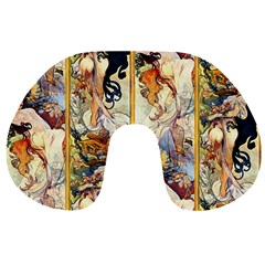 Alfons Mucha 1895 The Four Seasons Travel Neck Pillows
