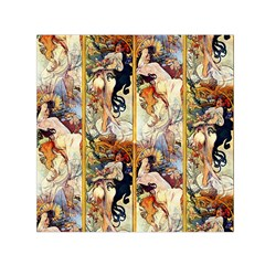 Alfons Mucha 1895 The Four Seasons Small Satin Scarf (Square)