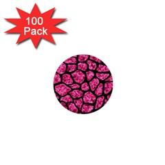 SKN1 BK-PK MARBLE 1  Mini Buttons (100 pack)
