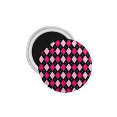 Argyle Pattern Pink Black 1.75  Magnets