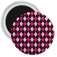 Argyle Pattern Pink Black 3  Magnets