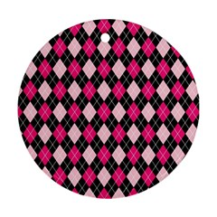 Argyle Pattern Pink Black Ornament (Round)