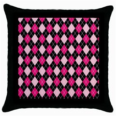Argyle Pattern Pink Black Throw Pillow Case (Black)