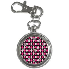 Argyle Pattern Pink Black Key Chain Watches