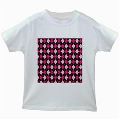 Argyle Pattern Pink Black Kids White T-Shirts