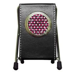 Argyle Pattern Pink Black Pen Holder Desk Clocks