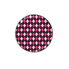 Argyle Pattern Pink Black Hat Clip Ball Marker (4 pack)