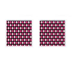 Argyle Pattern Pink Black Cufflinks (Square)