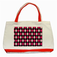 Argyle Pattern Pink Black Classic Tote Bag (Red)
