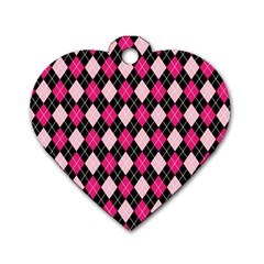 Argyle Pattern Pink Black Dog Tag Heart (Two Sides)