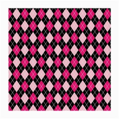 Argyle Pattern Pink Black Medium Glasses Cloth (2-Side)