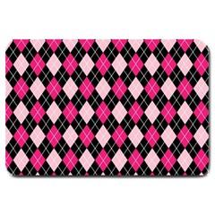 Argyle Pattern Pink Black Large Doormat