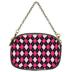 Argyle Pattern Pink Black Chain Purses (One Side)