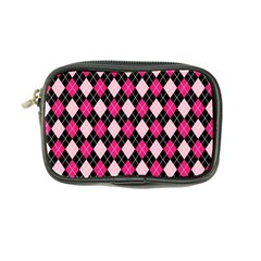 Argyle Pattern Pink Black Coin Purse