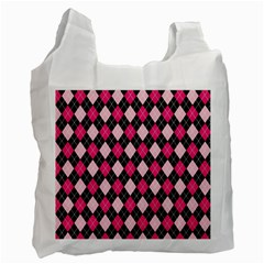 Argyle Pattern Pink Black Recycle Bag (Two Side)
