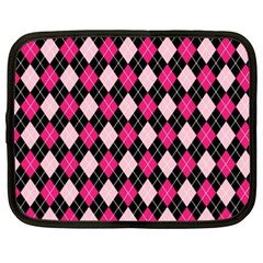 Argyle Pattern Pink Black Netbook Case (XXL)