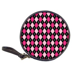 Argyle Pattern Pink Black Classic 20-CD Wallets