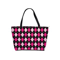 Argyle Pattern Pink Black Shoulder Handbags