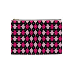 Argyle Pattern Pink Black Cosmetic Bag (Medium)
