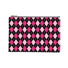 Argyle Pattern Pink Black Cosmetic Bag (Large)