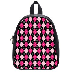Argyle Pattern Pink Black School Bags (Small)