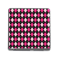 Argyle Pattern Pink Black Memory Card Reader (Square)