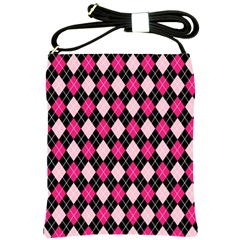 Argyle Pattern Pink Black Shoulder Sling Bags