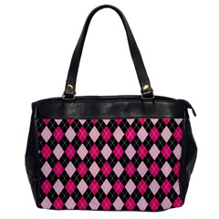 Argyle Pattern Pink Black Office Handbags