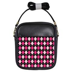 Argyle Pattern Pink Black Girls Sling Bags