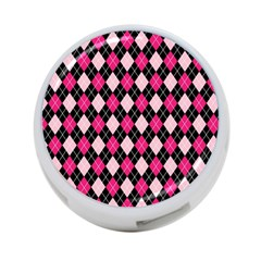 Argyle Pattern Pink Black 4-Port USB Hub (One Side)