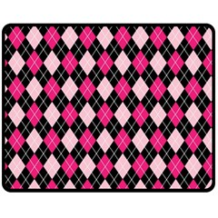 Argyle Pattern Pink Black Fleece Blanket (Medium)