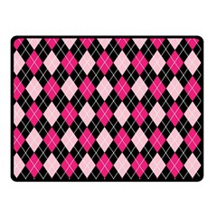 Argyle Pattern Pink Black Fleece Blanket (Small)