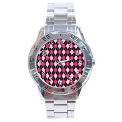 Argyle Pattern Pink Black Stainless Steel Analogue Watch
