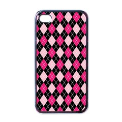 Argyle Pattern Pink Black Apple iPhone 4 Case (Black)