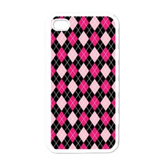 Argyle Pattern Pink Black Apple iPhone 4 Case (White)