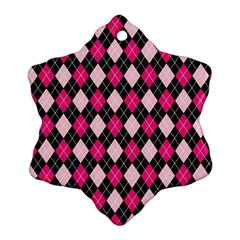 Argyle Pattern Pink Black Ornament (Snowflake)