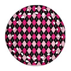 Argyle Pattern Pink Black Round Filigree Ornament (2Side)