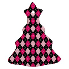Argyle Pattern Pink Black Christmas Tree Ornament (2 Sides)